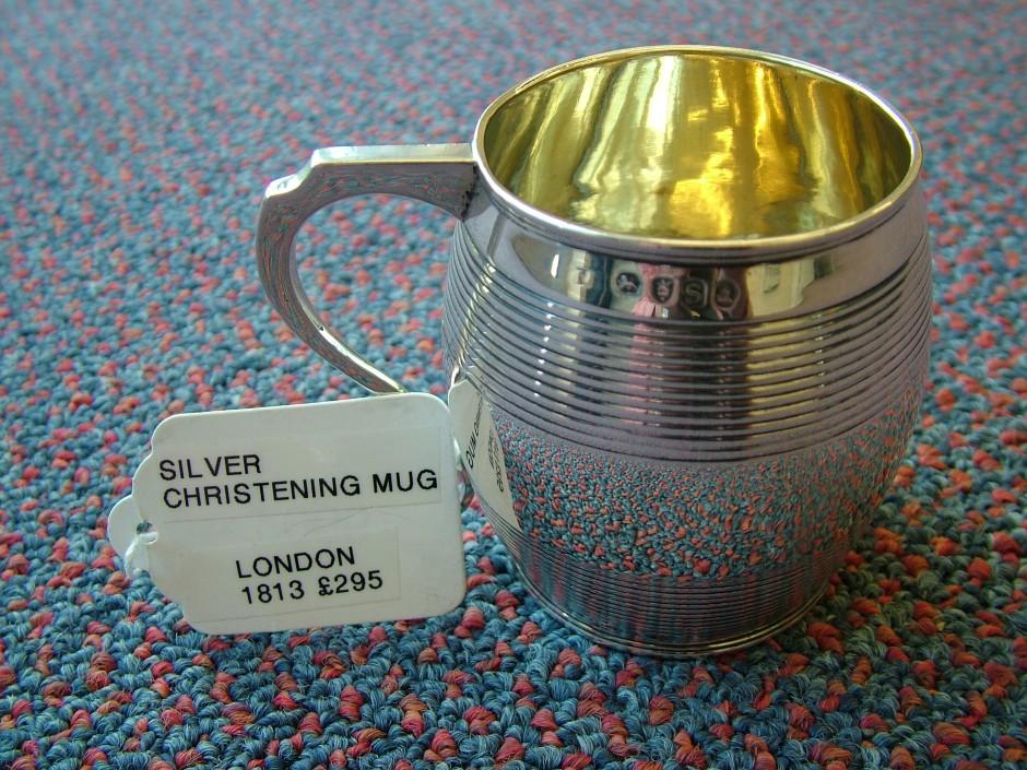 Christening Mug, Hallmarked Silver.