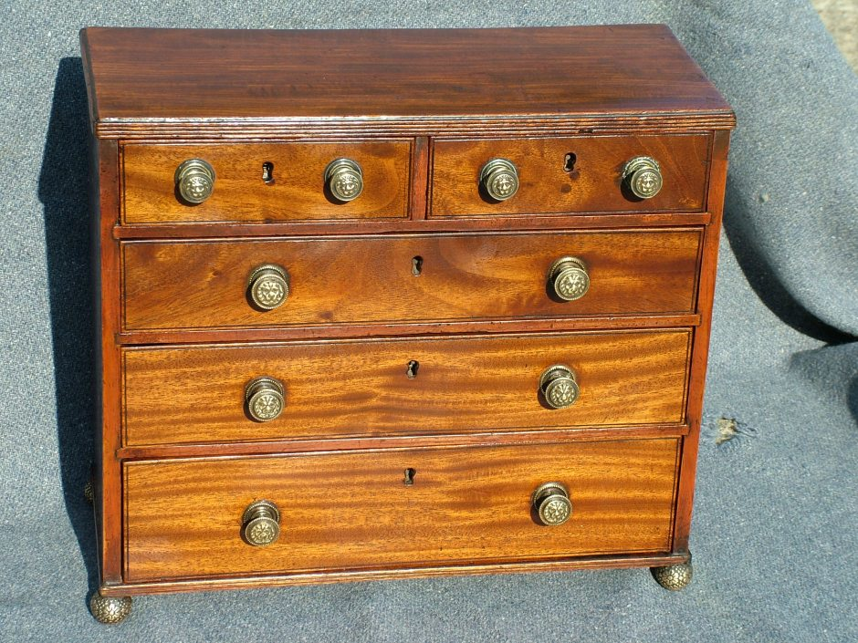 Magnificent Miniature Mahogany Chest.