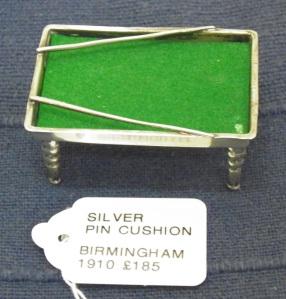Silver Billiards Table Pin Cushion
