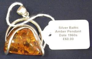 Silver mounted Amber Pendant